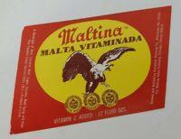 "VINTAGE Maltina Sales Co MALTINA ""MALTA VITAMINADA"" Beer Label 12oz UNUSED"