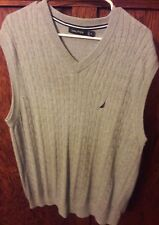 EUC Nautica Mens XL / XL  Deep Grey Cable Knit Golf Sweater Vest