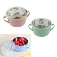 3x Stainless Steel Serving Bowl Kids Dinner Lunch Soup Rice with Lid Spoon