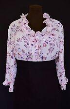 DAXON Ladies Sz 20 Ruched Top Elegant Floral Print Frilled Neck Shirt Blouse