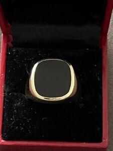 Herrenring Siegelring Gold 585 Massiv mit Onyx