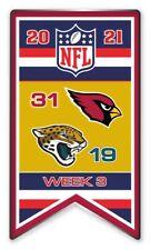 2021 Semaine 3 Bannière Broche NFL Arizona Cardinals Vs.Jacksonville Jaguars