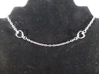 Vintage Silver Tone Heart Choker Necklace Chain 2 Hearts Adjustable