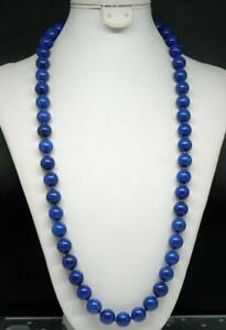 "Estate 12mm Lapis Lazuli Hand Knotted Beaded Strand 25.5"" Necklace"