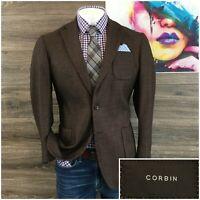 Corbin Mens Sport Coat Blazer Wool Two Button Sport Jacket Size 42R Dual Vent