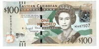 EASTERN CARIBBEAN $100 aUNC Banknote (2015 ND) P-55b Prefix WD Paper Money