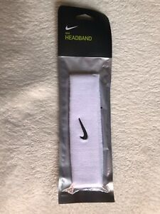 Nike Swoosh White Headband - Unisex - White with Black Swoosh