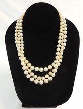 "Triple Strand Graduated Cultured Pearl 17"" Necklace 18k White Gold Diamond Clasp"