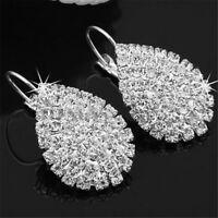 Pendientes plata femenina aretes de diamantes de imitación de cristal blanQA