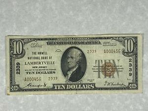 1929 $10 Dollars Lambertville New Jersey Charter 2339 Type 2 National Bank Note*