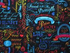 Faith Words Strength Inspirational Heart Muliti Cotton Fabric FQ