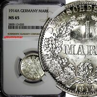 Germany - Empire Wilhelm II Silver 1914 A 1 Mark NGC MS65 TONING GEM BU KM#14