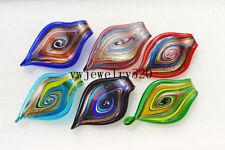 Wholesale Lots 12Pcs Big Leaf Murano Glass Pendant Fit Necklace FREE