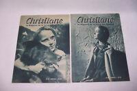 Lot de 2 CHRISTIANE n°68 & 69 1953 ancien magazine de la Jeune Fille Moderne