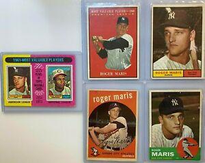 Lot 5 1959, 1961, 1963 & 1975 Topps ROGER MARIS New York Yankees Baseball Cards