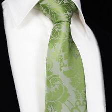 Mens Luxury 'Lime Green Tie' in Woven Silk & Satin Wedding Paisley Floral Gift
