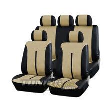 Leder Kunstleder Sitzbezug Sitzbezüge Schwarz-Beige #3 für Toyota Mazda Nissan