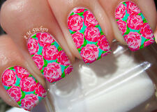 Pink Roses A1022 Nail Art Stickers Transfers Decals Set of 22