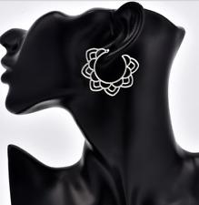 Rhinestone Geometric Double Round Circle Flicker Bright Earrings Dangle Hoop