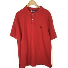 Chaps Men's Polo Shirt Red 100% Cotton 2-Button Size XL