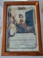 """Original Vintage BAKER'S BREAKFAST COCOA Poster for """"WALTER BAKER & CO. LTD."""""""