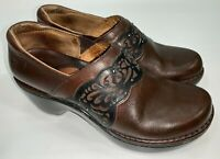 Ariat Tambour Slip On Clogs Shoes Brown Leather w/ Black Trim Womens Size 8.5B