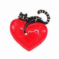 Red Enamel Big Love Heart Cute Cat Kitten Charm Betsey Johnson Brooch Pin Gift