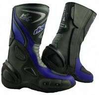 LV14 Motorcycle Motorbike Blue Leather Water resistant Winter Race Boots