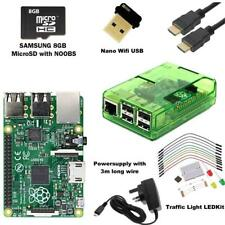 Raspberry Pi 3 Model B Noobs Traffic Light Starter Kit + Green Case + HDMI