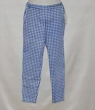 Joan Rivers Regular Gingham Print Pull-On Ankle Pants Size S Blue
