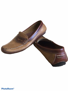 Men's Leather driving loafers ,Tan & Brown Size 11m