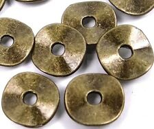 50 Antique Bronze Pewter Washers Spacer Wavy beads 9mm ~ Lead-Free ~