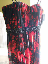 NWT Guess Los Angeles Designer Black Red Empire Waist Evening Prom Dress 8 $216