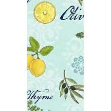 2 Pretty! LEMONS & OLIVES Cloth Napkins Set of 2  Blue Yellow LG Cotton Kay Dee