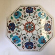 """11"""" Marble  Floral Mosaic Inlaid Stones Octagonal Flowers flat disc"""