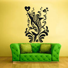 Wall Decal Sticker  Orca Dolphin Fish Whale Decal Heart Flowers (Z1868)