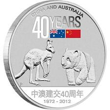 Australia 2012 $1 40 Years of Friendship - China and Australia 1 Oz Silver Coin