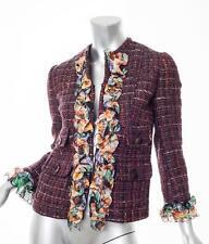 DOLCE & GABBANA Womens Multicolor Tweed+Floral Ruffle Jacket Blazer 40/4 S NEW