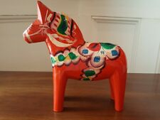 "VTG 8"" SWEDISH BY GRANNAS OLSSONS DALA HORSE ORANGE/RED HAND-CARVED & PAINTED"