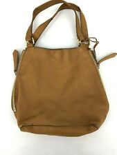 Linea Pelle Brown Leather Bag Zipper Hoho Slouch Medium Purse Tan (B6)