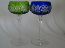 """TWO VINTAGE AMAZING ROEMER WINE GLASS CRYSTAL GREEN BLUE height 6,90"""""""