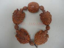 Delicate Peach kernel Four major Kings China Buddhist Prayer Beads Mala Bracelet