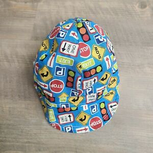 Handmade Colorful Street Sign Snap Closure Baby Toddler Reversible Hat