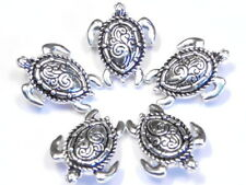 5 - 2 HOLE SLIDER BEADS FANCY STAMPED SEA TURTLE ANTIQUED SILVER BEACH BEADS