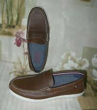 EXCELLENT MEN'S IZOD ROSWELL BROWN LEATHER LOAFERS BOAT SHOES US 9.5 EU 43.5 UK9