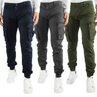 Pantaloni Uomo Cargo Tasche Laterali Slim Fit Verde Militare Blu Grigio
