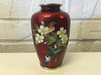 Vintage Japanese Silver Mounted Red Cloisonne Vase w/ Flower Decoration