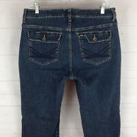 Lee Slender Secret womens size 10S stretch blue med-dark wash flap bootcut jeans