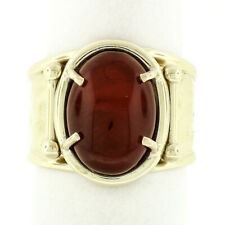 Fine 10k Yellow Gold Oval Cabochon Carnelian Solitaire Open Shank Hammered Ring