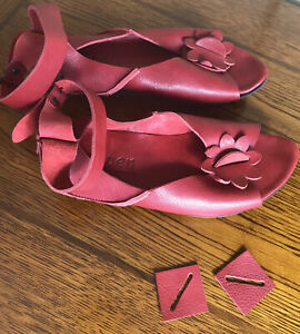 TRIPPEN * GERMANY Red leather wedge sandals* Size 38 - US 7- 7.5